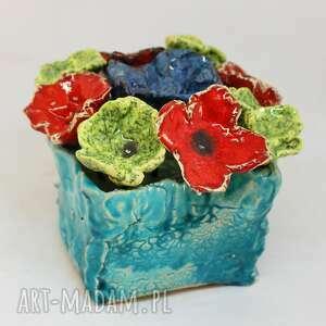dekoracje kwiaty ceramiczne piękny wielki wyjątkowy komplet z boxem handmade