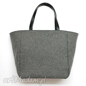 hand-made na ramię shopper bag worek - tkanina szara i czarne rączki