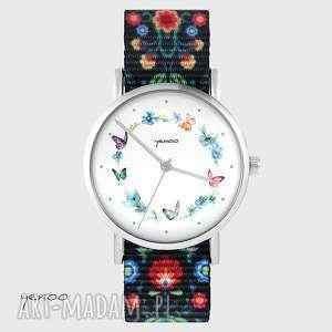 zegarek - kolorowy wianek folk czarny, nato, zegarek, bransoletka