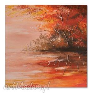 pejzaż nad jeziorem, obraz ręcznie malowany, obraz, pejzaż, nowoczesny, malarstwo