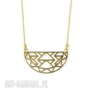 Pozłacany naszyjnik Aztec, pozłacany, naszyjnik, aztec, geometryczny, półkole, modny