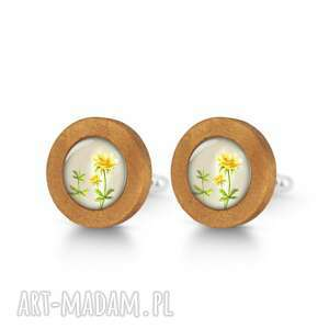wiesiołek - drewniane spinki do mankietów, kwiat, prezent