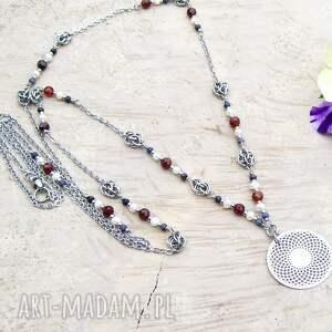 handmade naszyjniki perłowo z rozetą - naszyjnik