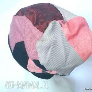 czapka damska etno boho folk patchwork na podszewce, box x1-polecam