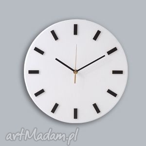 Bezgłośny Scandi Clock - zegar drewniany 30 cm, prosty,biały, zegar, scandi