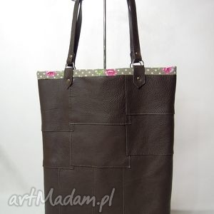 Torba skórzana na ramię - zakupowa, A4, brązowa z piękną podszewką, torba, zakupy