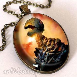 wizja przyszłości - owalny medalion z łańcuszkiem - artystyczny