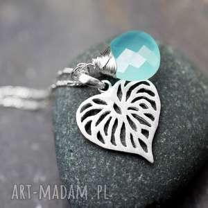 925 srebrny łancuszek liść akwamaryn - akwamaryn, srebro, liść, kamień, szlachetny, 925