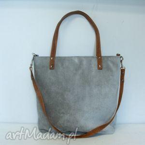 Shopper bag, shopper, szary, modna, szyta