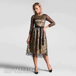 sukienki sukienka tina total midi leokadia podkład złoty, koronkowa