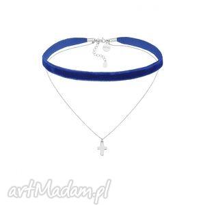ręczne wykonanie naszyjniki kobaltowy aksamitny choker z łańcuszkiem