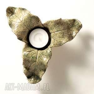 Lampion jesienny 3-listny zielony ceramika pracowniazona lampion