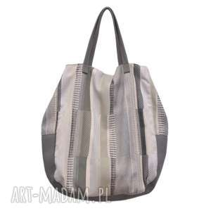 06-0009 Kremowa torba worek xxl na zakupy SWALLOW MAXI, duże-torebki-worki