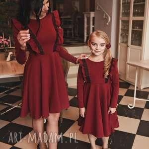 latori - sukienka dziewczęca z kolekcji mama i córka ld46/1 bordowy