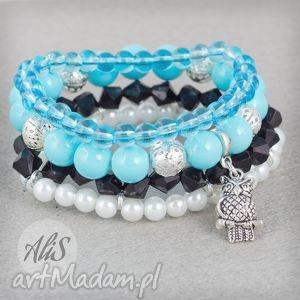 Niebieska sowa - ,zestaw,błękitna,perły,elegancka,sowa,zawieszka,