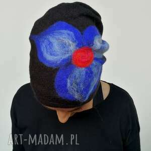 czapka wełniana damska etno boho filc -box m1-czapka handmade na podszewce