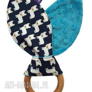 ręcznie robione zabawki gryzak wooden ring, motyw buldożki