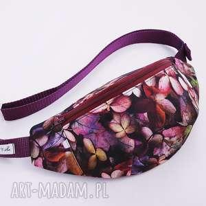 nerka jesienne barwy - ,nerka,biodrówka,saszetka,przepaska,fioletowa,kwiaty,