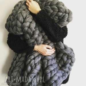 gruby koc pled wełniany - koc, pled, wełna, czesankowa, blanket, chunkyblanket