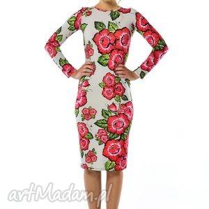 bożena - szara sukienka w kwiaty, sukienka, jersey