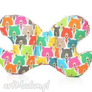 handmade dla dziecka poduszka podróżna motylek motyl kolorowe misie / czerwony