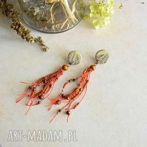 pomarańczowe kolczyki w stylu boho, bohemian, biżuteria boho