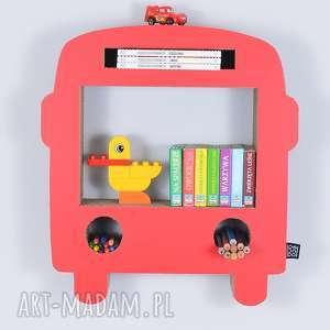 handmade pokoik dziecka półka na książki zabawki bus ecoono | czerwony