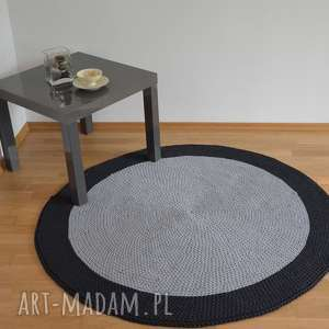 Dywan okrągły ze sznurka - dwie szarości 130 cm, dywan, szydełko, robiony-ręcznie