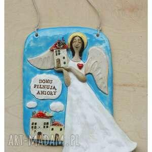 ręczne wykonanie ceramika tabliczka domu pilnują anioły