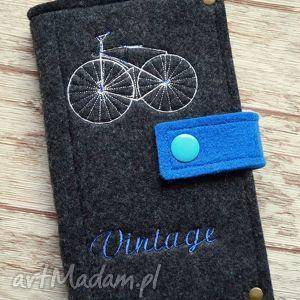 Filcowe etui na telefon - Vintage Bike, etui, smartfon, portfelik, filcowe, retro,