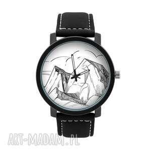 zegarek męski z grafiką góry, pasmo górskie, szczyt, wspinaczka, homemade