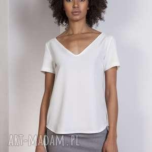 Bluzka w serek, BLU141 ecru, bluzka, zwiewna, lekka, dekolt, t-shirt