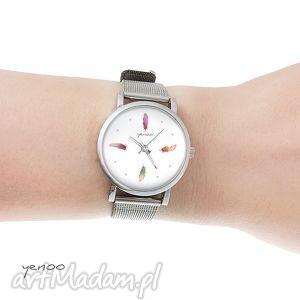 zegarek, bransoletka - kolorowe piórka mały, bransoletka, metalowa, piórko