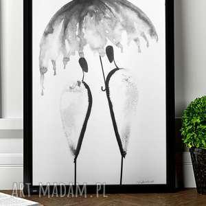 Prezent abstrakcja deszcz, malowany ręcznie czarnym tuszem A3, ilustracja 30x40