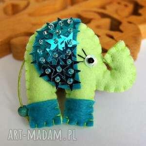 słonik cekiniak - broszka z filcu - tinyart - sloń, broszka, modna, dziecko