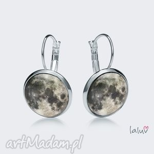 świąteczne prezenty, kolczyki wiszące moon, księżyc, noc, zaćmienie, kosmos, grafika