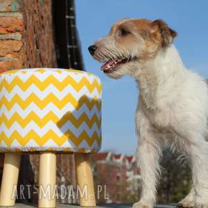 Pufa Żółty Zygzak - 36 cm, pufa, taboret, ryczka, stołek, dziecko, zygzak