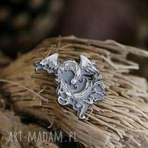 feniks broszka - przypinka ze srebra próby 925, przypinka do marynarki, srebrny feniks