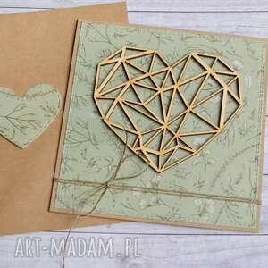 hand made kartki kartka ślubna, miłosna - geometryczne serce zieleń