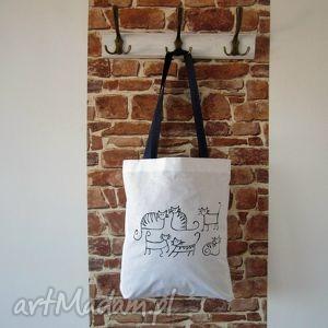 bawełniana ekotorba z ręcznie wykonaną grafiką, eko, bag, pojemna, miejska, koty