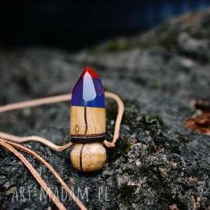 Wisior ResinWood Bullet , wisior, naszyjnik, drewno, las, boho, etno