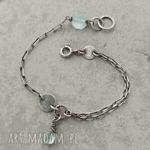 prosta srebrna bransoletka z akwamarynem, srebro, akwamaryn, unikalna