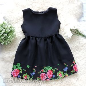 Czarna sukienka góralska folkowa dziecięca, sukienka, folkowa, folk,