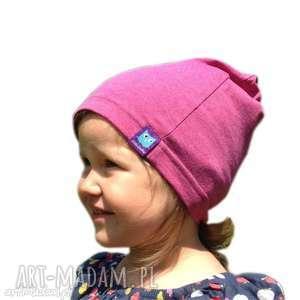 ręcznie zrobione dla dziecka czapka, różowa, cienka bawełniana