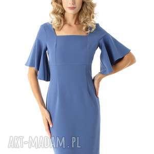 Sukienka z kwadratowym dekoltem blanca malina 028 sukienki ella