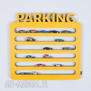 półka na resoraki, samochodziki parking żółty, chłopiec, dziewczynka