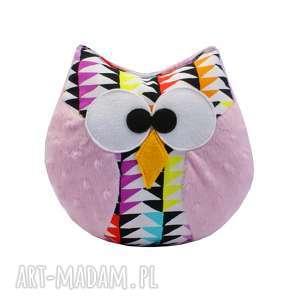 ręcznie zrobione zabawki sowa coco, różowa, mozaika, na prezent