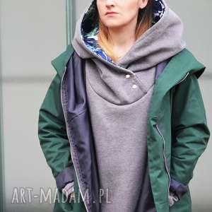 agagu zielony szmaragdowy płaszcz oversize ogromny kaptur na jesień rozmiar s