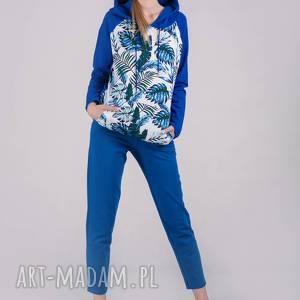bluzy bluza damska z kapturem chabrowa wzór, bluzy, spodnie, sukienki, bluzki