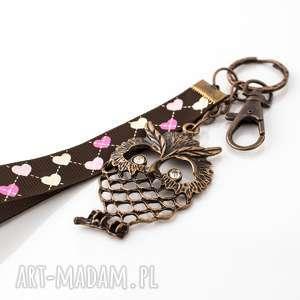 brelok do kluczy lub torebki - sowa, boho, zawieszka, klucze, prezent, święta